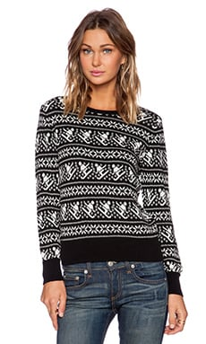 525 america Crop Crew Skier Sweater in Black Combo