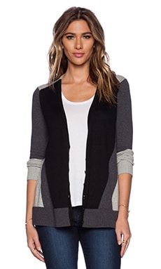 525 america Color Block Cardigan in Grey Combo