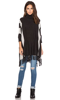525 america Stripe Turtleneck Fringe Poncho in Dark Grey Combo