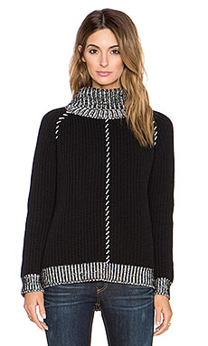 525 america Whipstitch Shaker Turtleneck Sweater in Black