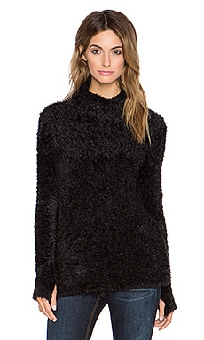 525 america Feather Yarn Funnel Neck Tunic in Black