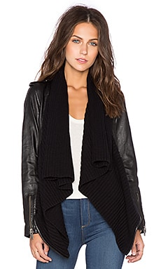 525 america Leather & Sweater Envelope Cardigan in Black