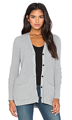 525 america Neoprene Patch Boyfriend Cardigan in Heather Grey