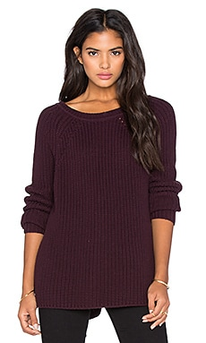 525 america Hi Lo Back Zip Sweater in Mulberry