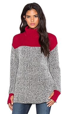 525 america Colorblock Tweed Turtleneck Sweater in Monroe Red Combo
