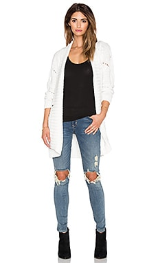 525 america Open Cable Cardigan in White Cap