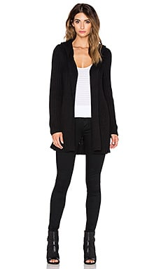 525 america Hood & Thumbhole Rib Sweater Coat in Black