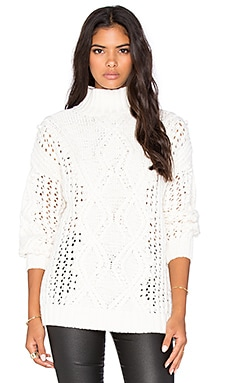 525 america Popcorn Cable Mockneck Sweater in White Cap