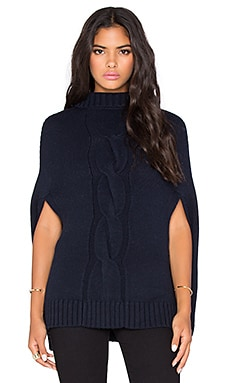 525 america Center Cable Mockneck Poncho in Navy