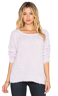 525 america Feather Yarn Crop Sweater in Lilac Ice