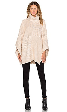 525 america Patchwork Turtleneck Poncho in Sandstorm Combo