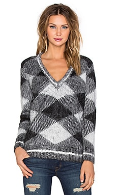 525 america Argyle V Neck Sweater in Black & White