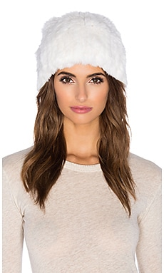 525 america Rex Rabbit Fur Pom Pom Beanie in White Cap