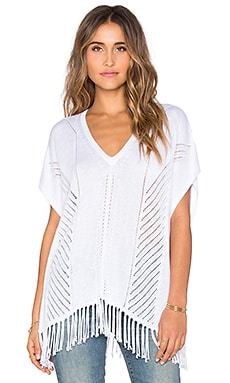 525 america Fringe Poncho in Bleach White