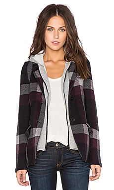525 america Hooded Plaid Blazer in Black Combo