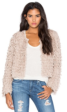 x REVOLVE Crop Fringe Jacket in Buff