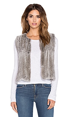 Real Natutral Rabbit Fur Vest en Gris
