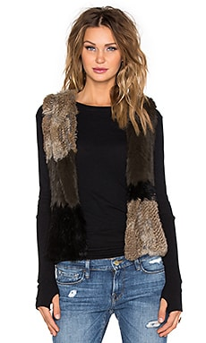525 america Patchwork Rabbit Fur Vest in Natural Combo
