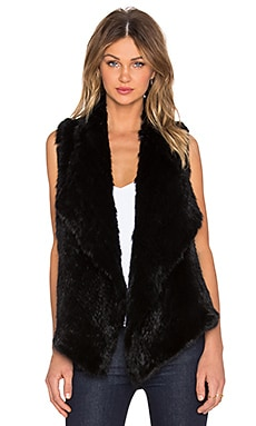 525 america Envelope Rabbit Fur Vest in Black