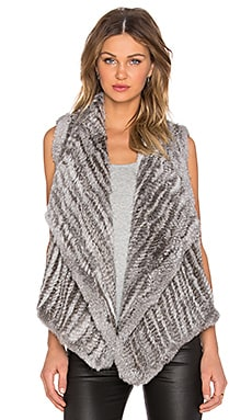 525 america Envelope Rabbit Fur Vest in Grey