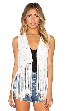 525 america Open Fringe Vest in Chalk