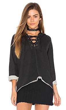 Lace Up Hoodie in Black