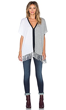 525 america Fringe Colorblock Poncho Top in Bleach White