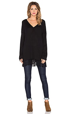 525 america Fringe Poncho Long Sleeve Top in Black