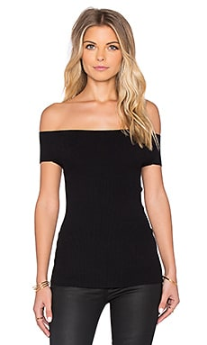 Off Shoulder Rib Tee in Black