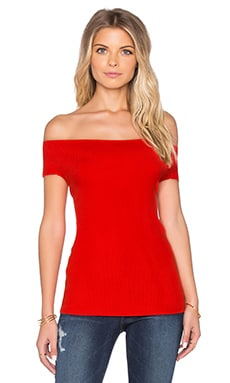 525 america Off Shoulder Rib Tee in Bonfire Red