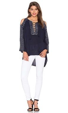 Embroidered Tunic in Solid Navy