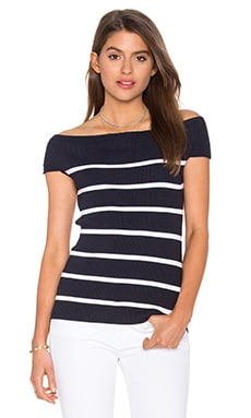Off Shoulder Rib Tee in Classic Navy & Bleach White