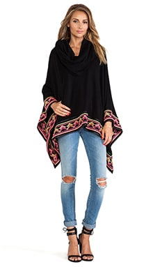 6 SHORE ROAD Desert's Embroidered Poncho in Midnight