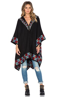 6 SHORE ROAD Gypsy Embroidered Poncho in Black Rock