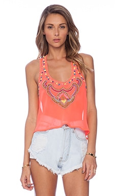 Nuri Beaded Top in Coral