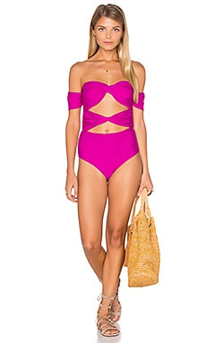 6 SHORE ROAD Wanderlust One Piece Swimsuit in Pomegranate