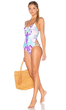 Flower Girl's One Piece Swimsuit in Floral Bazar
