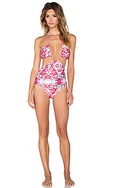 6 SHORE ROAD Pushcart Halter Swimsuit in Gardenia Red Floral