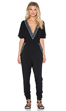 6 SHORE ROAD Big Sur Embroidered Jumpsuit in Black Rock