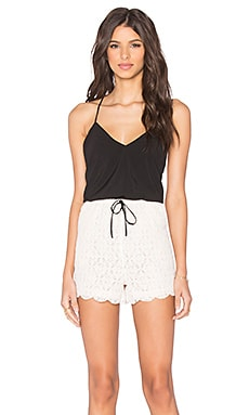 6 SHORE ROAD Malay Lace Romper in Black Rock