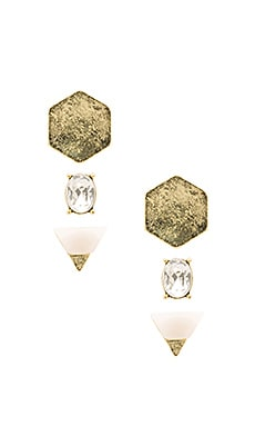 Triology Ear Set in Hammered 24KT Matte Gold & Ice Stone