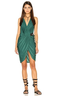 AGUADECOCO V Neck Drape Dress in Green