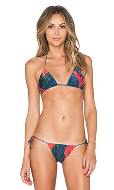 AGUADECOCO Triangle Bikini Top in Dark Floral