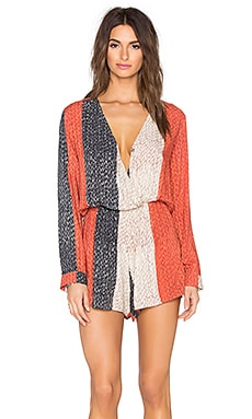 AGUADECOCO Straw Romper in Red & Blue & Ivory