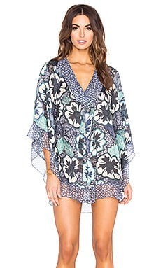 AGUADECOCO Floral Embroidered Satin Tunic in Richelieu