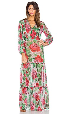 AGUADECOCO Lace Roses Maxi Dress Cover Up in Lace Roses