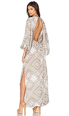 AGUADECOCO Embroidered Open Back Dress in Ceara