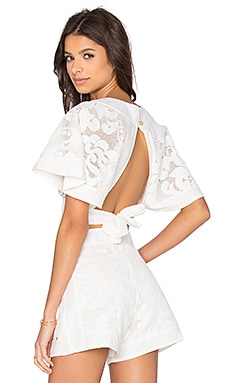 AGUADECOCO Lace Open Back Top Cover Up in Off White