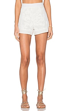 AGUADECOCO Lace Short Cover Up in Off White