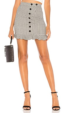 Loren Button Mini Skirt About Us $32